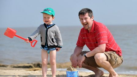 Temperatures are set to soar in Suffolk. Isaac and Richard Plank making sand castles on Felixstowe