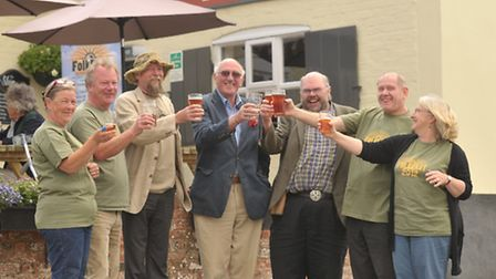 Bury St Edmunds' micro-brewer Marc Bartrum launches his Cobbold FolkEast Festival Ale at the Blaxhal