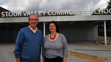 Chair of Goveners Keith Haisman and head teacher Christine Inchley outside Stour Valley Community Sc
