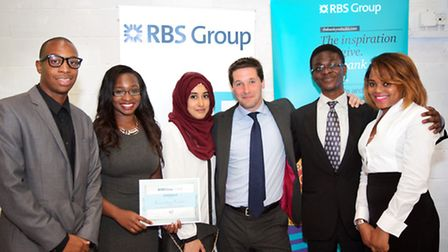 Members of Enactus Essex with their Gold award at the RBS ESSA Awards