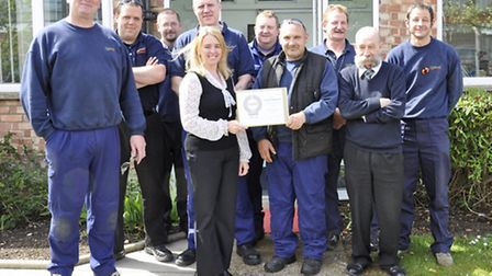 Ransomes Jacobsen staff with the new RoSPA award certificate