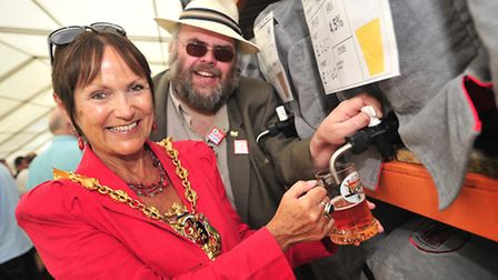 Ipswich Mayor Mary Blake joins Nigel Smith of CAMRA at the opening of the 30th Ipswich Beer Festival