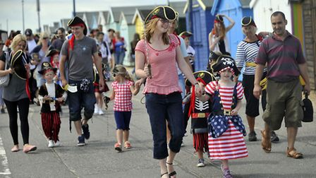 Pirates of all ages walked in the Felixstowe Pirate Walk along the promenade on Sunday, 28 July.