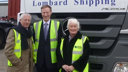 Simon Fraser, managing director of Lombard Shipping, with Nick Hewer and Margaret Mountford