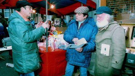 Ray Butt, left, directing David Jason and Buster Merryfield in the Only Fools and Horses Christmas S