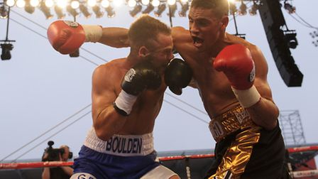 Anthony Ogogo in action with Gary Boulden in their Middleweight bout