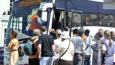 Buses were brought in to pick up passengers at Ipswich station