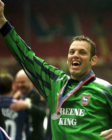 Richard Wright celebrates Ipswich Town's play-off final victory over Barnsley in 2000. PHOTO: Richar