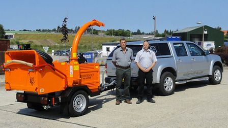 Timberwolf sales director Alex Ball and transport manager Dave Reid with the Timberwolf 190TDHB mach