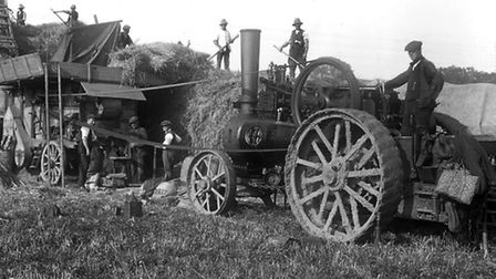 Threshing by steam power in Suffolk in the late 1920s. Photo courtesy David Kindred.Aug 2013 - Cle