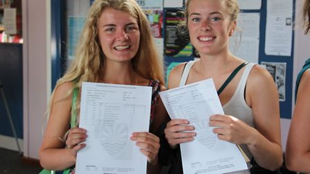 Imogen Tink and Sophie Leigh-Pearson, of Felixstowe Academy, celebrate their A level results.