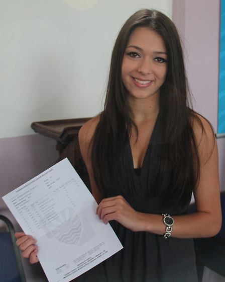 Felixstowe Academy student Annabel Hood, who gained three A grades and an A* and has won a place at