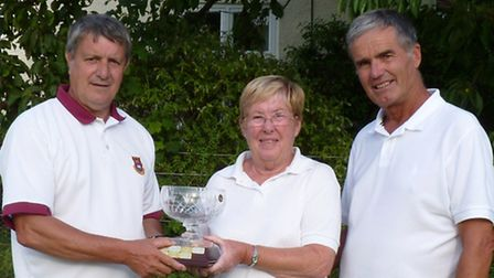 Winners of Melton Bowls Club Invitation Pairs Tournament, Graham and Margaret Martin being present