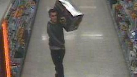 Police want to speak with this man about the theft of a vacuum cleaner from ASDA, in Queen Elizabeth