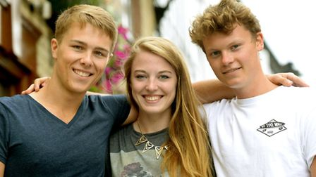 Celebrating success: Students from the King Edward VI School in Bury St Edmunds celebrating their A-