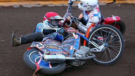 Ipswich V Workington PL 16th August 2013Rohan Tungate falls in front of Kyle Howarth in heat 3.Pic