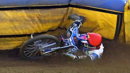 Cameron Heeps piles into the fence at Foxhall
