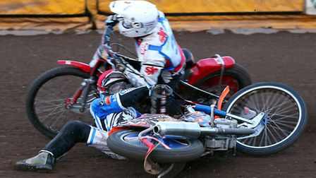 Ipswich V Workington PL 16th August 2013Rohan Tungate gets caught by Kyle Howarth after falling in