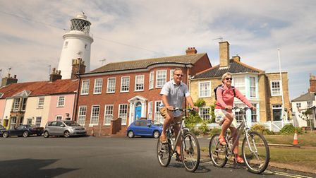 Cyclists on a sunny day in Southwold. Peter and Dinah Findlay