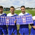 Ipswich Town football players Anthony Wordsworth, Luke Chambers, Cole Skuse and Paul Anderson hold c