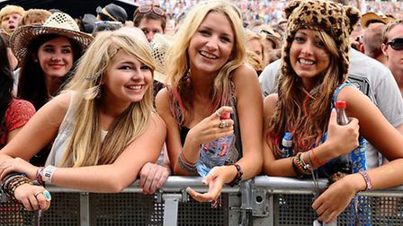 Festival goers watch acts perform on the 4 Music stage at V Festival 2011 in Chelmsford