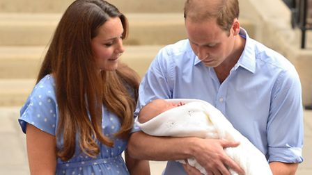 The Duke and Duchess of Cambridge leaving hospital with newborn Prince George