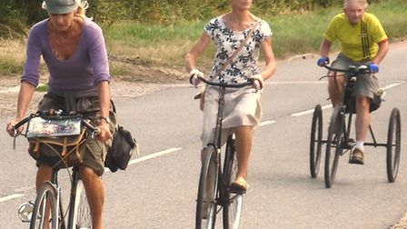 Veteran Cycle Ladies and a tricyclist on the ride near Sibton
