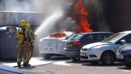 Bungay car fire. Picture by Sophie Bell.