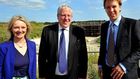 Elizabeth Truss, MP for South West Norfolk, and Matthew Hancock, MP for West Suffolk, visiting the A