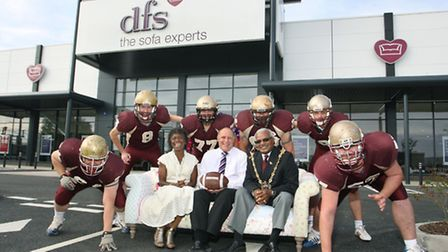Kevin Gasson, centre, manager at the new branch of DFS in Ipswich, with the Mayor of Ipswich, Hamil