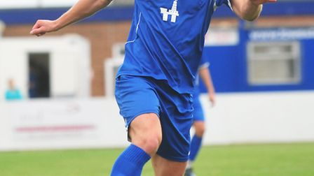 Ryman League Football action from Crown Meadow between Lowestoft Town and Bognor Regis.Jack Ainsley