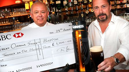 Rob Jarvis, who plays Eddie the barman in BBC's Hustle visiting Rendlesham Social Club to collect a
