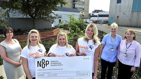 Judith Abela (Groups Manager for Sands) fundraisers Amy Grimwood, Clare Strowger, Ria Pilkington, Ch