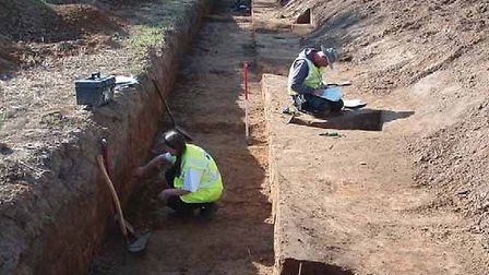 Archaeologists working on the Walton Green site at Felixstowe - the uncovered evidence of use of the
