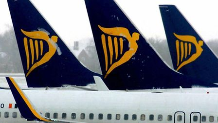 Ryanair aircraft at Stansted Airport.