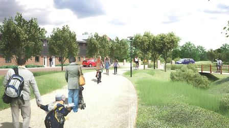 A computer-generated view showing the environment proposed by the Walton Green development project a