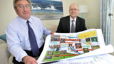 Leader of Suffolk Coastal council Ray Herring and regional managing director of Bloor Homes East And