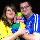 Jenson Batrum from Diss is only 9 days old and already his parents are trying to sway his football t