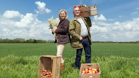 (l-r): Gregg Wallace and Philippa Forrester present Harvest on BBC2