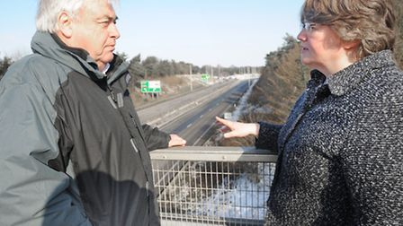 Trimley councillor Graham Harding and Suffolk Coastal MP Therese Coffey discuss the need for acousti