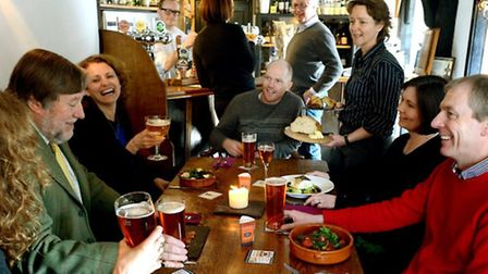 Cask ale drinkers at the Swan Inn, Stratford St Mary