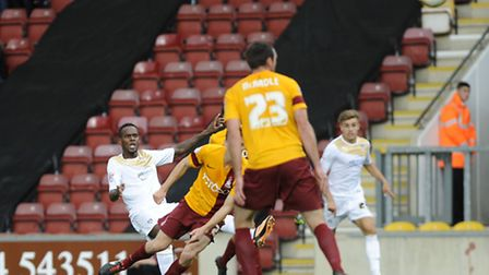 Gavin Massey's second half shot which struck the post at Bradford. He will miss out due to a hamstri