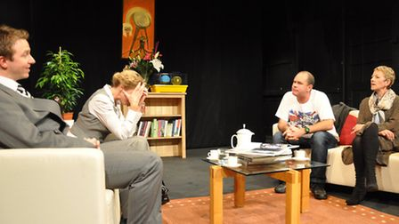 The God of Carnage, Megabrill Productions at the Sir John Mills TheatreFrom left: Mike Cook, Petr