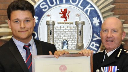 Rhys Joseland, 16, received the Royal Humane Society award from chief constable Douglas Paxton