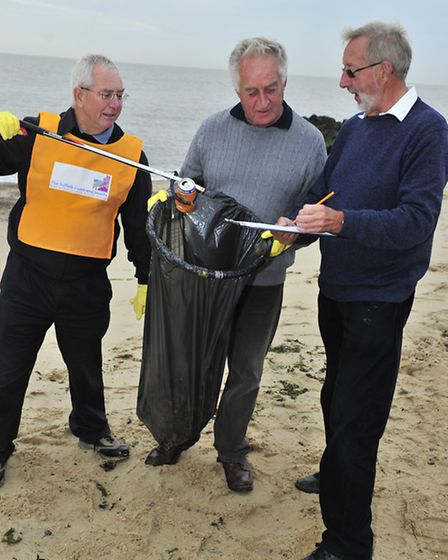David Markwell, Stan Gooch, and Phil Hadwen taking part in the Beachwatch clean-up and survey at Fe