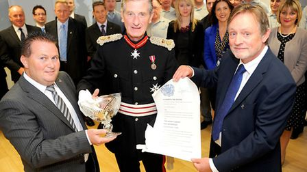 The presentation of the Queen's Award for Enterprise by Lord Tollemache, Lord Lieutenant of Suffolk,