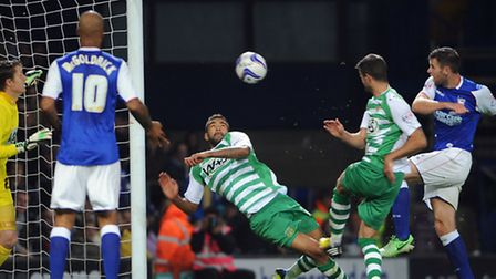 Daryl Murphy scrambles home Ipswich Town's equaliser against Yeovil. PHOTO: Andy Abbott