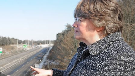 Dr Therese Coffey near the A14 at Trimley.