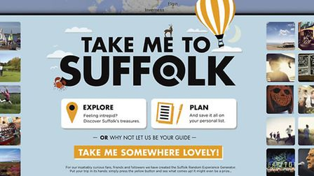 The website that will be the portal for the Take Me to Suffolk campaign.