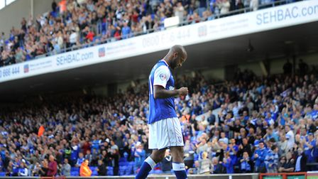 David McGoldrick is acclaimed by the Ipswich Town fans after his two goals condemned Brighton to a 2